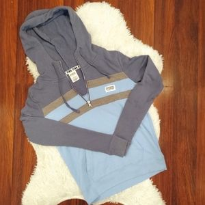 PINK Hoodie Partial Zip Blue Gray Pull Over